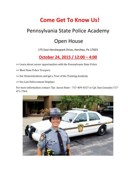 PA State Police Academy -Come Get To Know Us