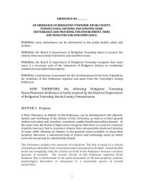 Pages from Bridgeton Township Draft Noise Ordinance