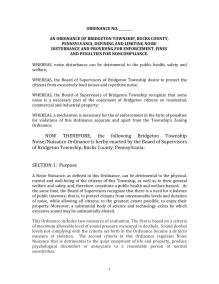 Bridgeton Township Draft Noise Ordinance