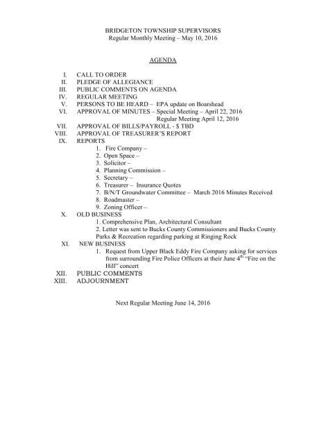BTS Agenda 05-10-2016