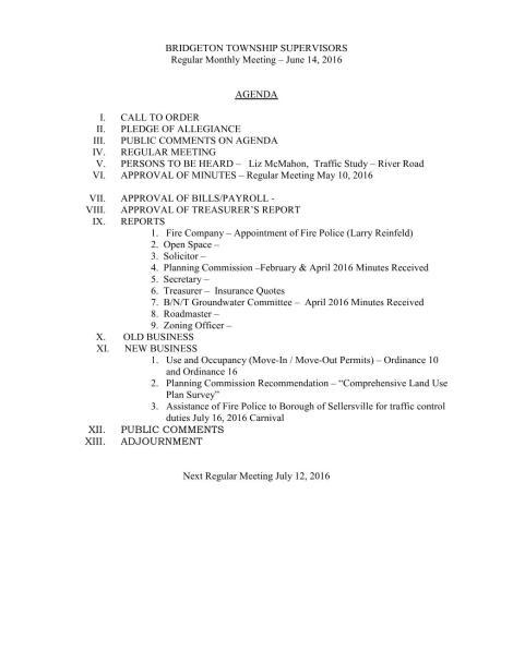 BTS Agenda 6-14-16