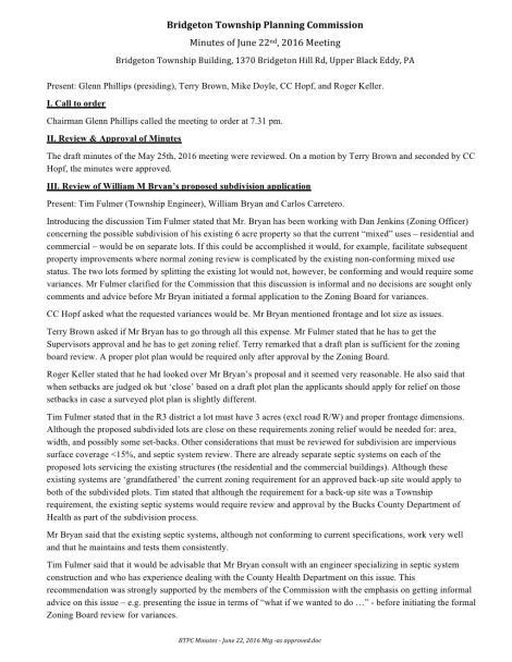 BTPC Minutes - June 22, 2016 Mtg Page 001