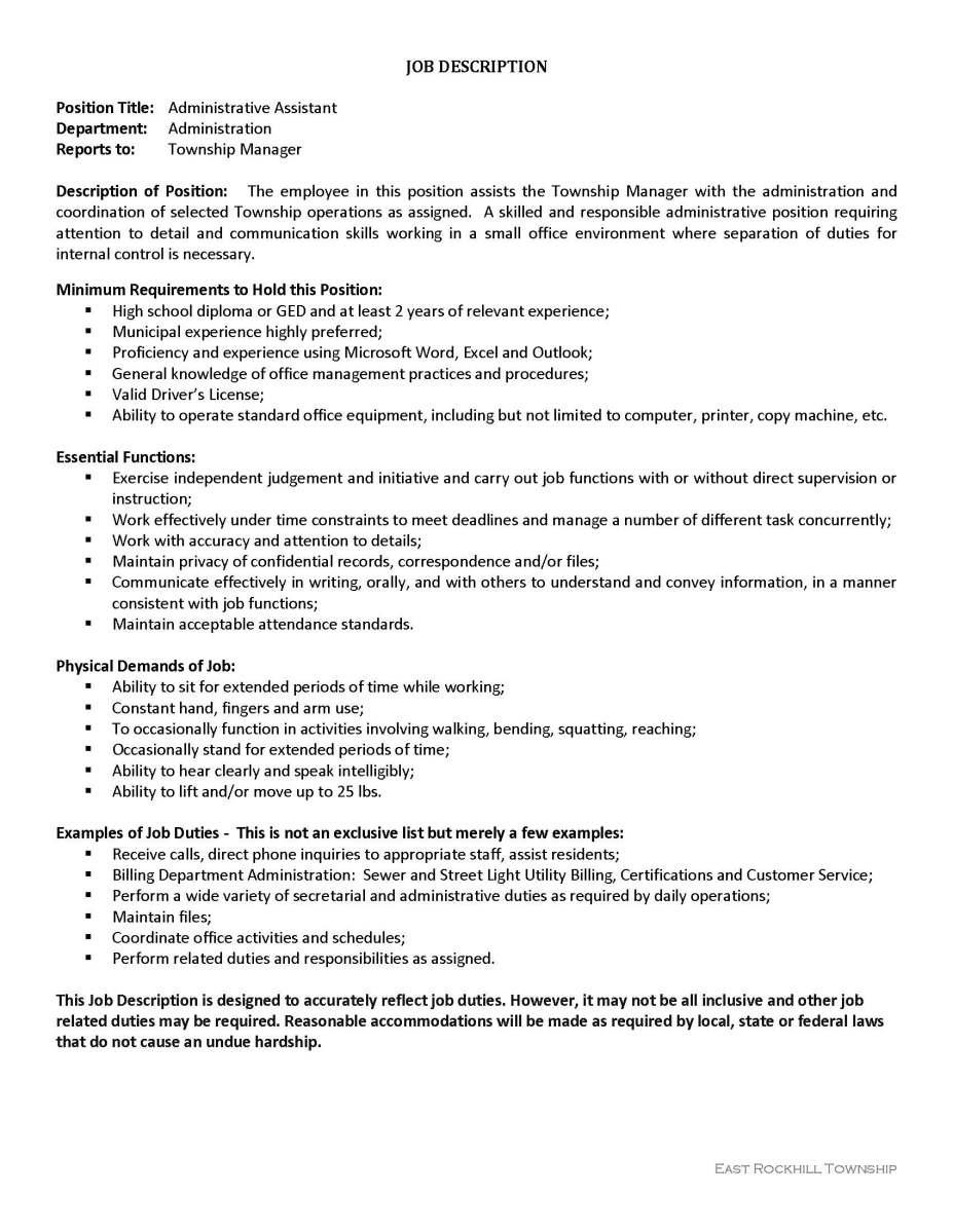 Administrative assistant job opening east rockhill township bridgeton township - Office manager assistant job description ...