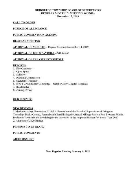 12.12.19 Township Supervisor Agenda